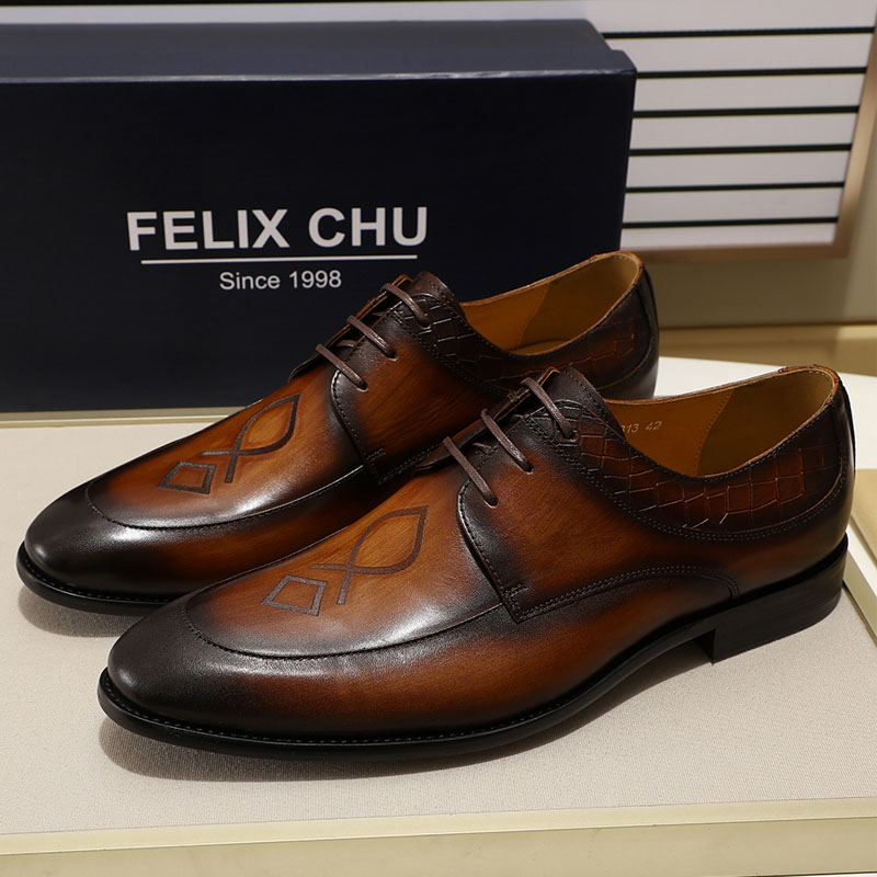 Systematic Felix Chu Mens Style Leader Apron Toe Oxford Brown Green Real Leather Lace Up Derby Shoe Mens Dress Shoes Business Suit Shoes High Quality Formal Shoes