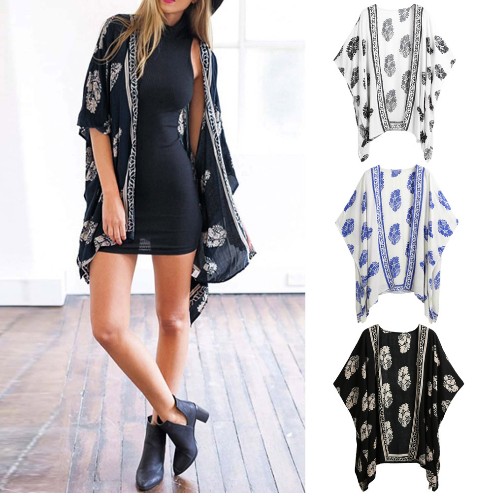 Women's Clothing Womens Boho Floral Beach Cover Up Kimono Cardigan Coat Tops Blouse Shawl Kaftan