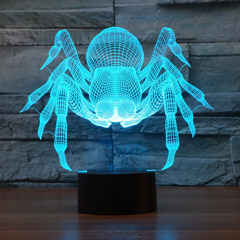 New Spider Shape Usb 3D Light Colorful Touch Charging LED Visual Light Gift Celebration Table Lamp