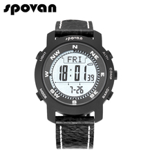 SPOVAN Brand Men's Sports Watches Sapphire Crystal Mirror, Genuine Leather Band, Military Watch Compass/Pacer Bravo2a