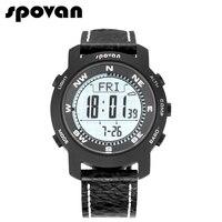 Spovan бренд Для Мужчин's Спортивные часы сапфировое стекло зеркало, Пояса из натуральной кожи, Военная Униформа часы Компасы/Pacer bravo2a