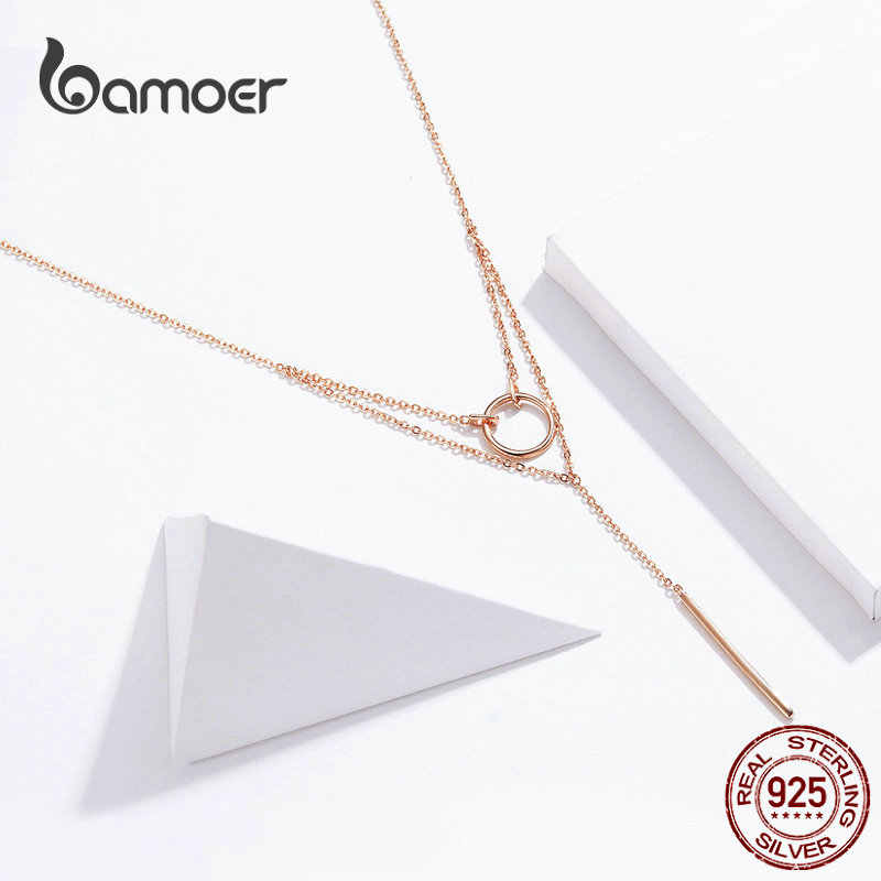 bamoer Double Layers Geometric Choker Necklaces for Women Authentic 925 Sterling Silver Rose Gold Color Fashion Jewelry BSN078