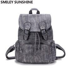 СМАЙЛИК СОЛНЦЕ бренд fashoin женщины рюкзак высокое качество женщины искусственная кожа школьные сумки adrawstring рюкзак женственный