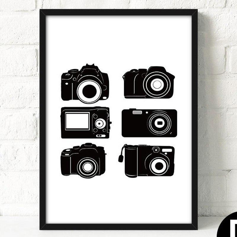 Artdom No Framed Black White Retro Camera Canvas Art Print Painting ...