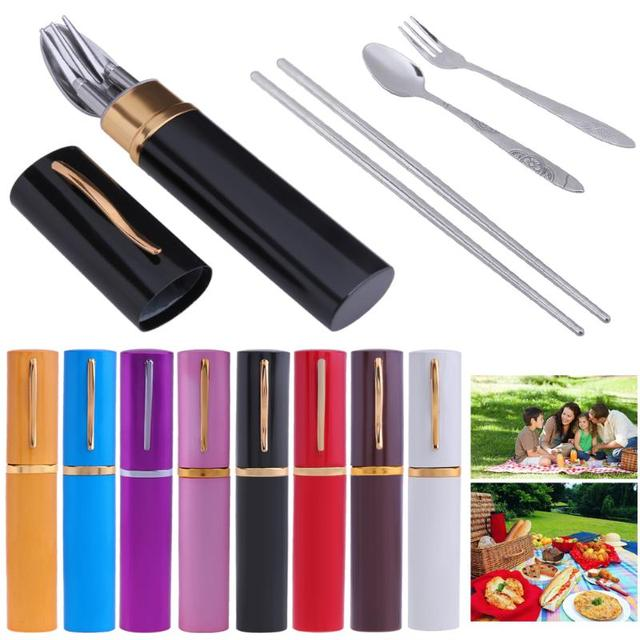 3pcs/Set Stainless Steel Outdoor Tableware Portable Camping Traveling Fork Spoon Chopsticks Set BBQ Picnic Tableware Storage Box