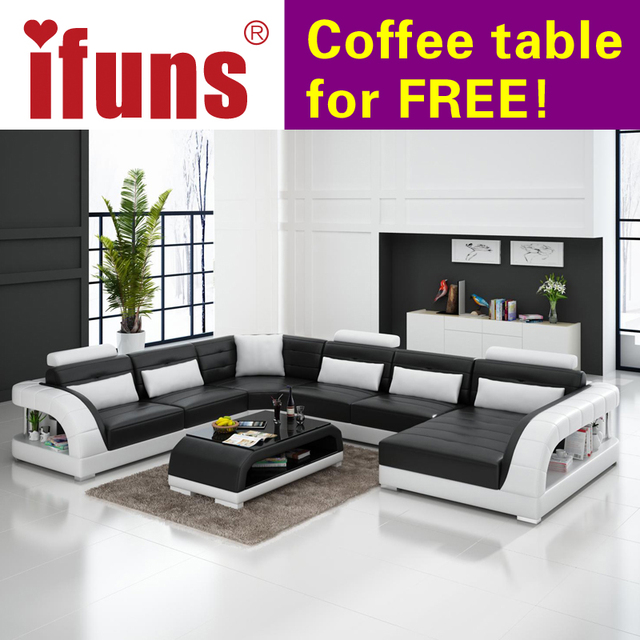 Ifuns Large U Shaped Sofa White Cow Leather Couch Living Room Sofa