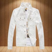 Для мужчин Рваные джинсы куртка уличной хип хоп Однобортный