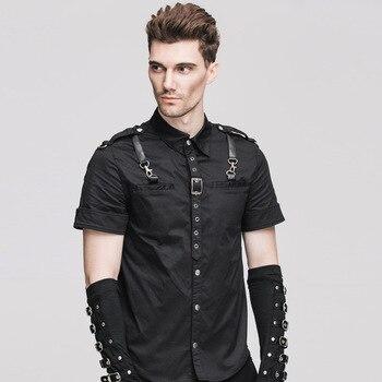 ca3d60a103 Diablo Punk de Moda hombre negro camisas de algodón gótico Steampunk verano  Otoño de manga corta Camiseta Casual guapo Tops blusa