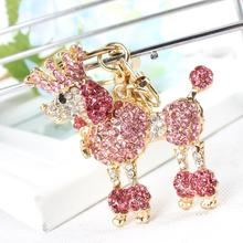 Crown Poodle Dog Keyring Lovely Cute Rhinestone Crystal Pendant Charm Purse Bag Car Key Chain Birthday Party Gift