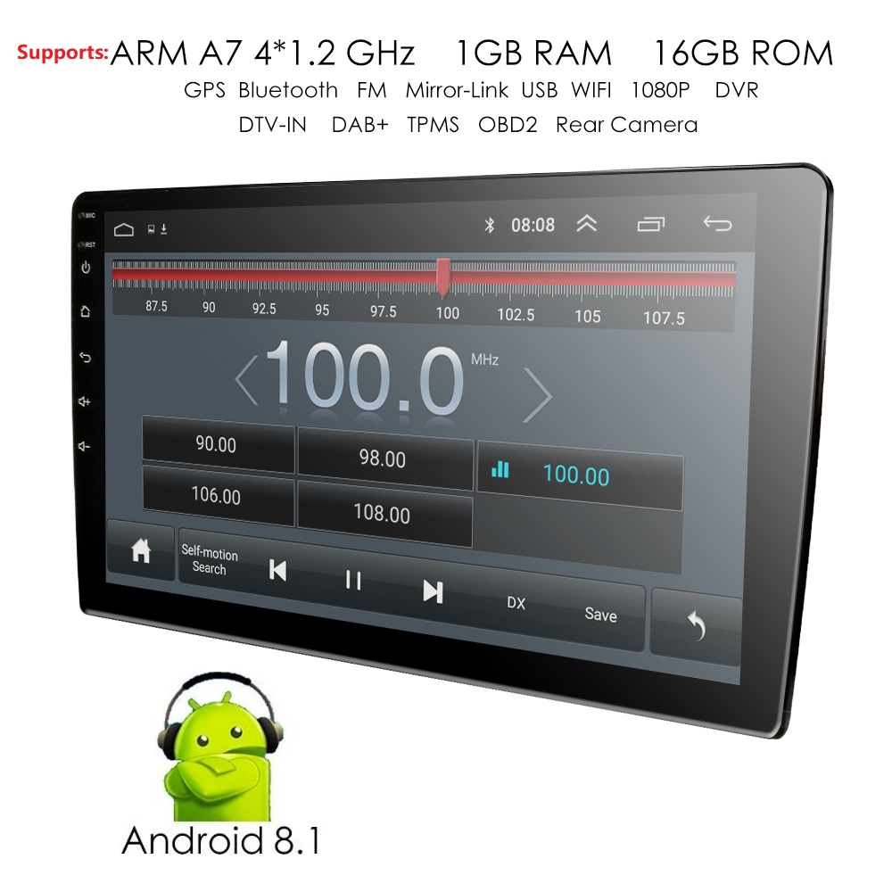 2 Din 9'' 4Core Universal Android 8.1 1GB RAM Car Radio Stereo GPS Navigation WiFi 1024*600 Touch Screen 2din Car PC Auto audio