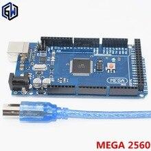 10 шт. Mega 2560 R3 Mega2560 REV3 ATmega2560-16AU, ATMEGA16U2-MU плата+ usb-кабель, совместимый с 10 комплектами