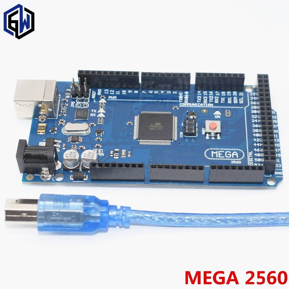 10 piezas Mega 2560 R3 Mega2560 REV3 ATmega2560-16AU... ATMEGA16U2-MU placa + Cable USB compatible 10