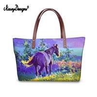 2018 New PU Women Shopping Bag Tote Bag Colorful Horse Handbags Women Shoulder Bags for Girls Famous Large Shopping Totes Baobao