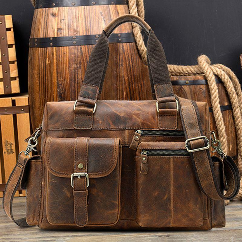 Мужская сумка из натуральной кожи, портфель, сумка для ноутбука, Большая вместительная сумка, высокое качество, дорожная сумка через плечо - 5