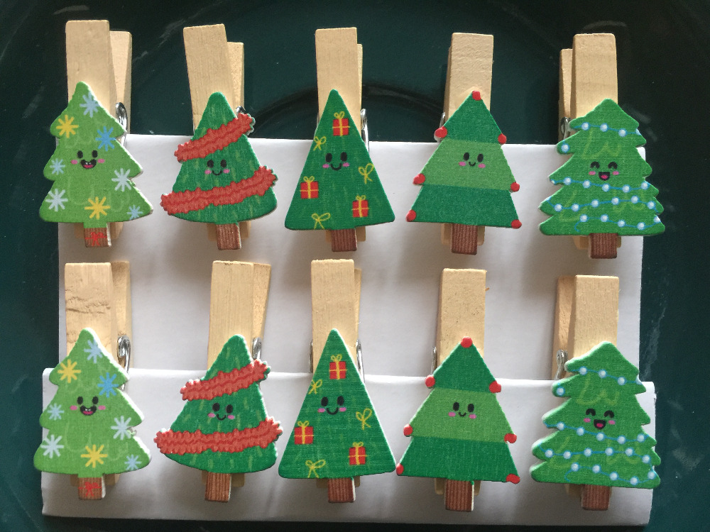 120pcs Christmas Tree Cute Pin Clothespins Craft Clips Wooden Photo Clips  Wood Pegs For Christmas Party