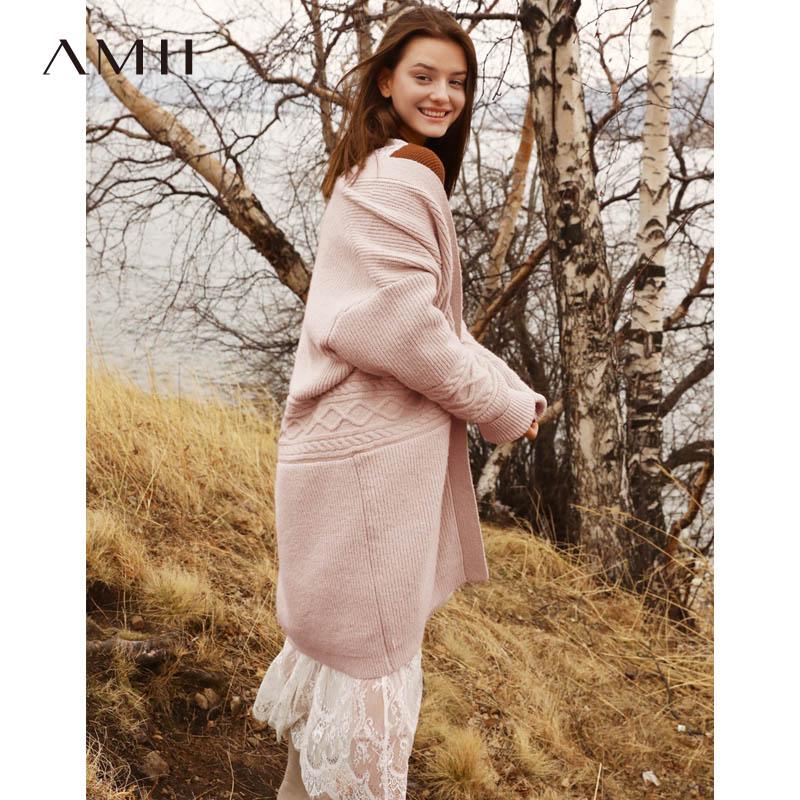 Amii Minimaliste Cardigan pink Cardigan Femmes Vintage Femelle Chandail Style Brown Solide Lâche Automne Patchwork Manteau 2019 Tricoté Preppy tshdCBQrx
