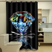 Charmhome الأسود البوليستر دش الستائر براقة الماس مجموعة حمام دش الستار ستارة الحمام للماء 3d و 12 السنانير