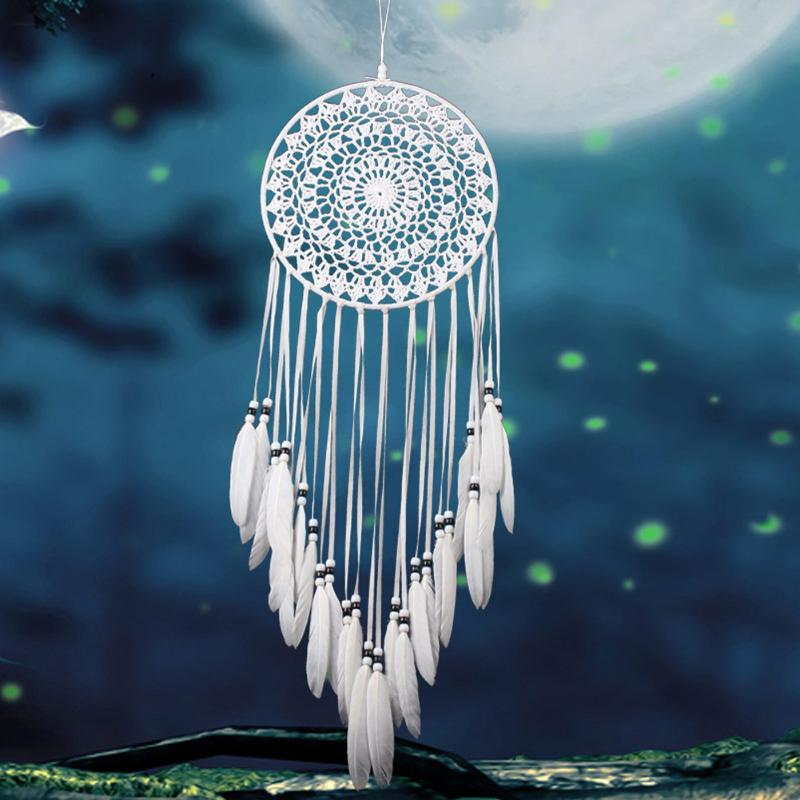 Dream Catcher With White Feather Beads Wall Hanging Decor Craft Car Ornament BTE