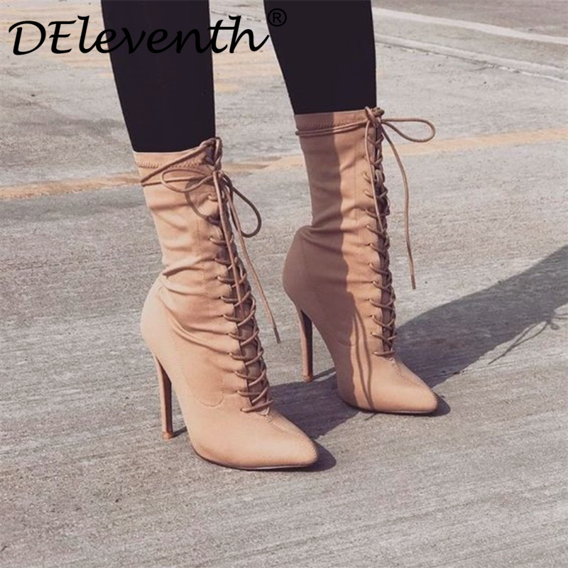 Womens boots pointed toe lace up yarn elastic ankle boots thin heel high heels shoes woman female short boots 2019 spring shoesWomens boots pointed toe lace up yarn elastic ankle boots thin heel high heels shoes woman female short boots 2019 spring shoes