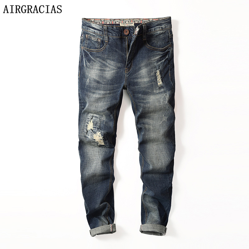AIRGRACIAS New Fashion Mens Ripped Jeans Brand Clothing 98% Cotton Autumn Classic Biker Jean Denim Long Pants Trousers For Male