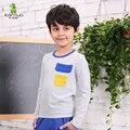 Kamiwa 2015 nova primavera adolescente meninos de algodão listrado T roupas camisas dos miúdos moda conjunto completo de roupas crianças Tees Freeshipping