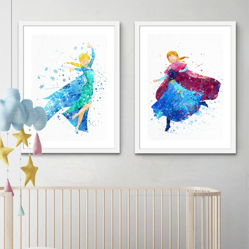 Princeses cartoon framed print canvas 5 pieces