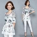 Novas Mulheres Casual Chiffon Blusa blusas de Renda Básica de Verão impressão floral patchwork Camisa Top bandage OL meia manga Plus Size
