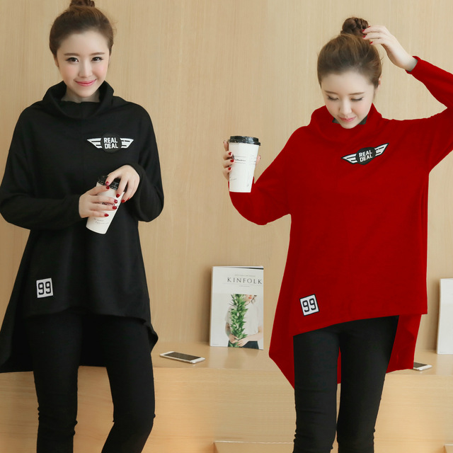 Autumn and winter maternity fashion sweater large size set loose turtleneck cashmere coat with thick head