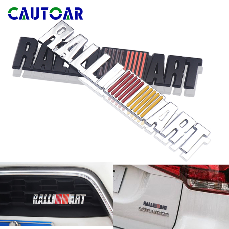 3D Metal ralli art Front Grille Chrome Emblem <font><b>Sticker</b></font> For Mitsubishi ralliart <font><b>Lancer</b></font> 9 <font><b>10</b></font> Asx Outlander 3 Pajero Sport Badge image