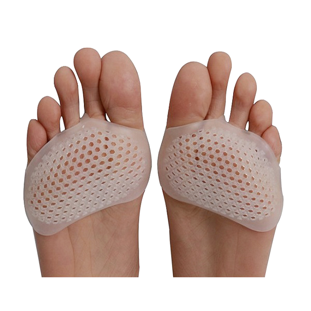 1 Pair Silicone Gel Forefoot Pads for Women Metatarsal Corns Blister Breathable White High Heels Half Yard Insole