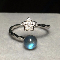 925 Sterling Silver Cute Star Women Ring Natural Moonstone Labradorite Stone Adjustable Female Girls Rings Finger Jewelry Gift