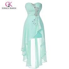 Grace Karin Pale Turquoise Evening Dresses 2017 New abendkleider Short Front Long Back Formal Dress Chiffon Long Evening Gowns