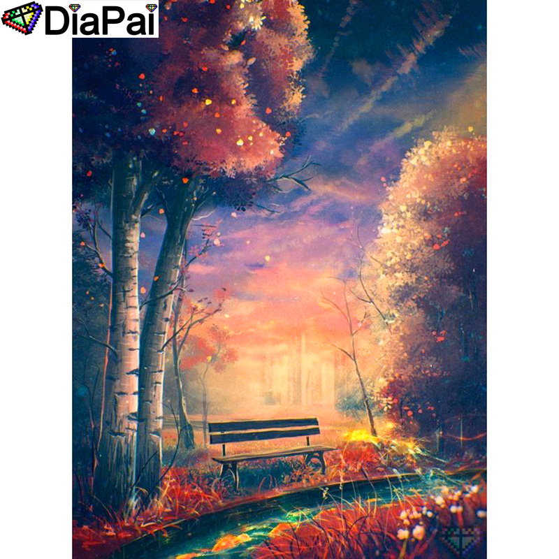DIAPAI 100 Full Square Round Drill 5D DIY Diamond Painting quot Tree chair scenery quot Diamond Embroidery Cross Stitch 3D Decor A18779 in Diamond Painting Cross Stitch from Home amp Garden