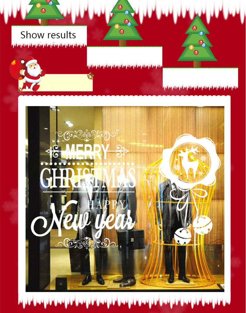 50x70cm 2019 Merry Christmas Decorations for Home New Year Shop Glass Window White Deers Bell Decorative Stickers Navidad Natal  (9)