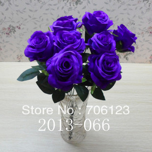 Silk Simulation Artificial Fake Flowers fabric 9 Heads Rose bouquet for Home & love decoration 5PCS