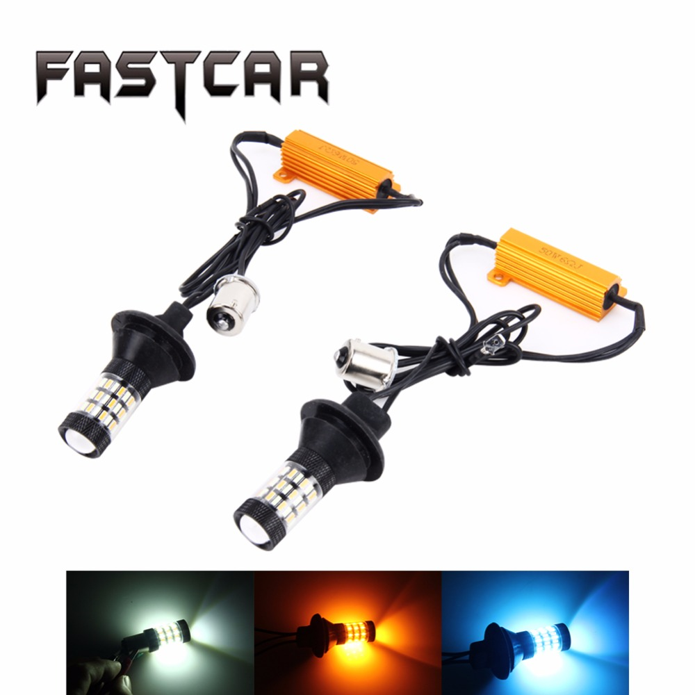 Dual Color 1156 BA15S BAU15S T20 7440 LED Bulbs Turn Signal Light DRL 60SMD White Amber Ice Bule Fog Lights Error Free Canbus