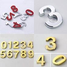 5 см Современный дверной знак, самоклеящийся домашний адрес, номер двери, 3D цифра для гостиницы, квартиры, дома, улицы, номер, стикер на стену
