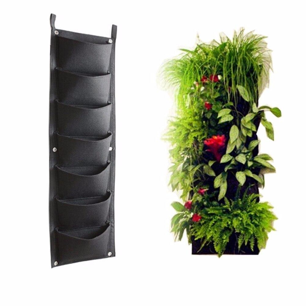 buy 7 pockets outdoor indoor vertical garden planting bag hanging wall balcony garden seed grown flower pot diy decor supplies from