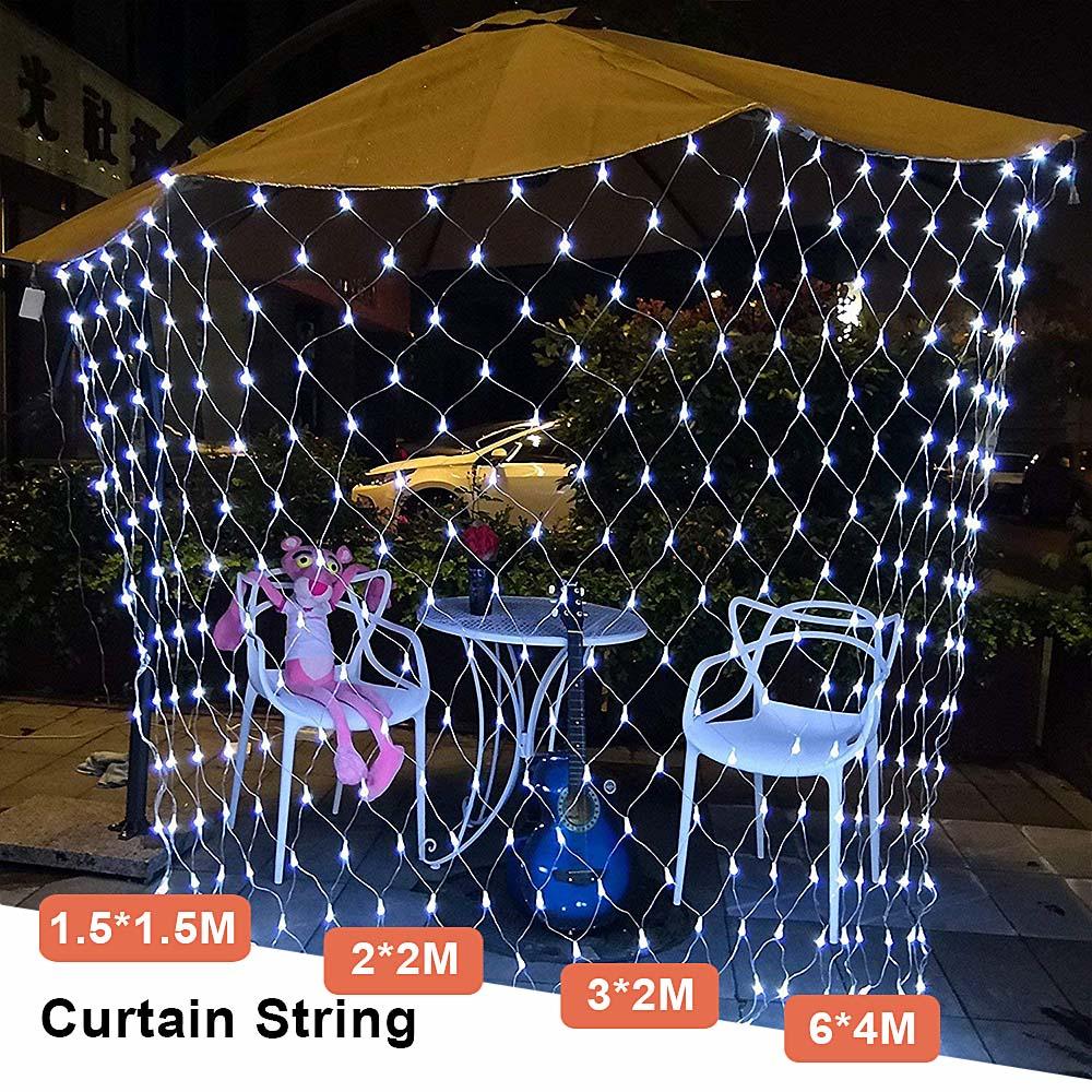 Mesh LED Lights 220V Holiday Wedding Party Outdoor String Lights Chain Decoration Garden Lamp Fairy Lights Net Garland slingers (20)