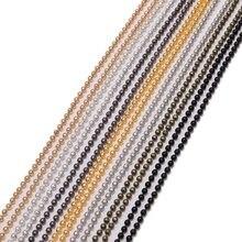 Chaînes de perles en métal noir, pour fabrication de colliers, 10 m/lot, 1.2, 1.5, 2mm, diamètre Bracelet à bricoler soi-même