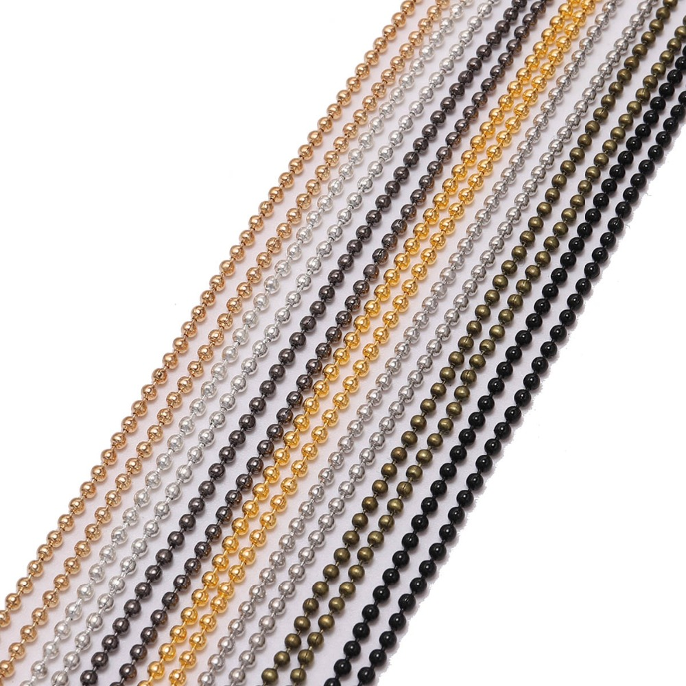 10m/lot Dia 1.2 1.5 2 Mm Gold/Silver/Black Metal Ball Bead Chains Bulk For Diy Bracelet Necklace Jewelry Findings Making Supplie