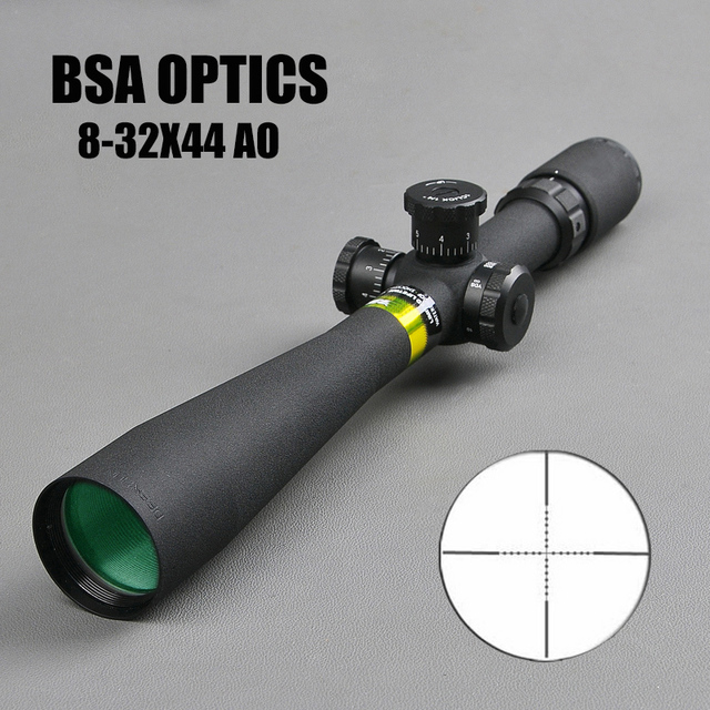 US $70 67 26% OFF BSA OPTICS 8 32X44 AO Hunting Riflescope 30mm Tube  Diameter Sniper Gear Front Sight For Air Rifles Long Eye Relief Rifle  Scope-in