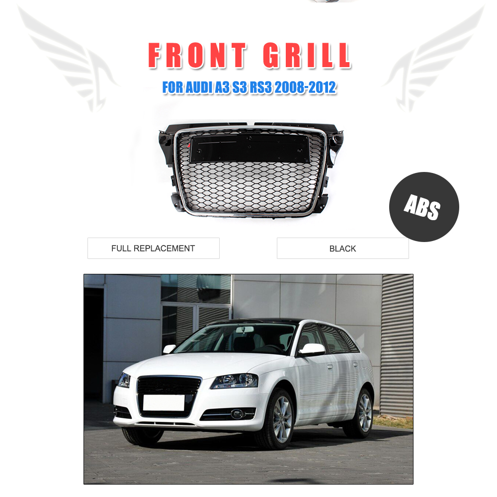 Front Bumper Mesh Hood Grill Grille Glossy Black Fit For Audi Q5 2009-2012