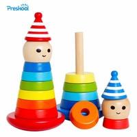 Montessori Baby Kids Speelgoed Hout Clown Shake Toren Leren Educatief Voorschoolse Training Brinquedos Juguets