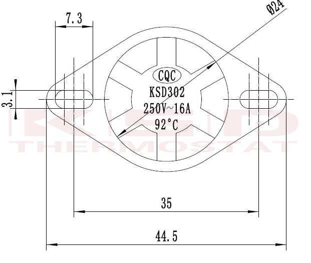 KSD302X 75-85 92 93 95 105C градусов по Цельсию 20A250V 4 футов биполярный температуры переключателя обогреватель Термостат тепловой