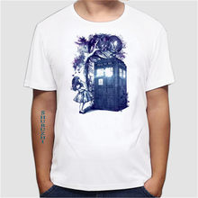 Big Purple Tooth Ghost Cheshire cat design men T-Shirt summer hipster Who is in wonderland print men's T-Shirt(China)