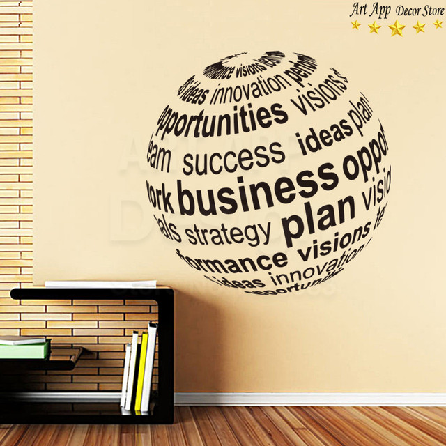 Good quality new design global business plan wall sticker removable art cheap home decoration vinyl english