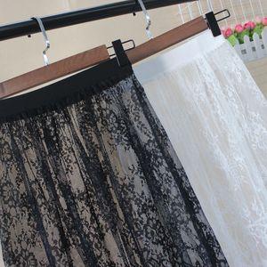 Image 3 - Kobiety jesień zima koronkowe spódnice na co dzień elegancka siateczka mesh przezroczysta Hollow Out krótka linia czarny biała spódnica Overskirt podkoszulek