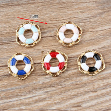 10pcs DIY Jewelry Accessories Drop Oil Lifebuoy Alloy Charms Bracelet Pendant Finding Navy Style Double Color YZ065