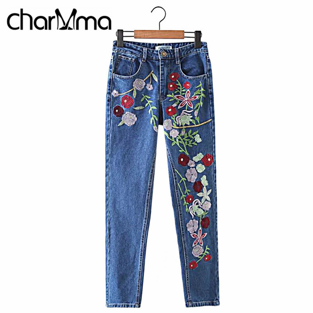 charMma 2017 BF Women Denim Jeans Vintage Flower Embroidery Pant Capris High Waist Femme Slim Ladies Straight Pants Jean Bottoms
